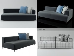 3D opium left arm sofa model