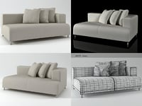 opium left arm loveseat 3D model