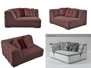 3D malhoun small 1-arm settee