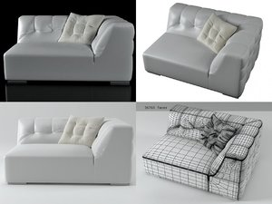 malhoun small 1-arm settee 3D