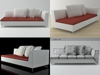 3D feng large 1-arm settee