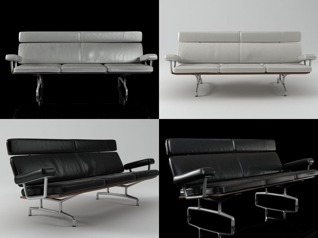 eames sofa 3-seater 3D model