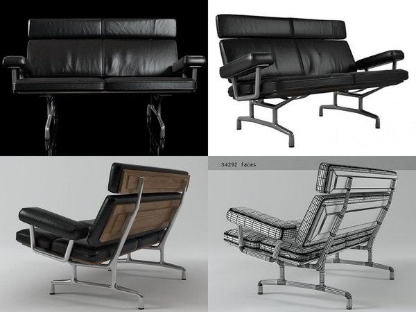 3D eames sofa 2-seater