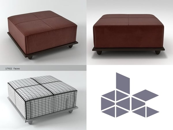 3D milling road cocktail ottoman