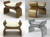 woven x bench 668-11-9 3D
