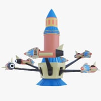 3D rocket carousel amusement park