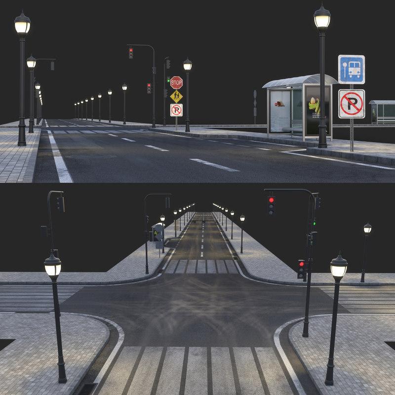 3D model asphalt road busstop
