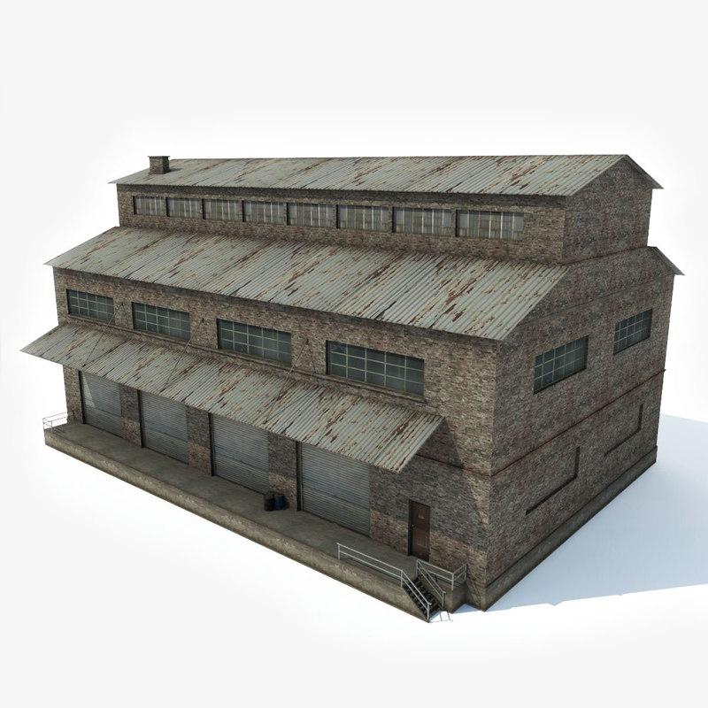 industrial building factory 3D