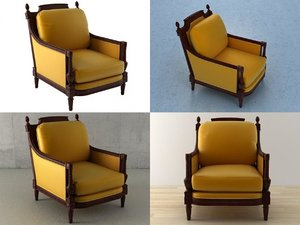 mahogany armchair n 3D model