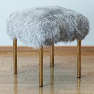 hair fur sheepskin stool model