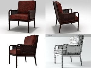 china bay cane armchair 3D model