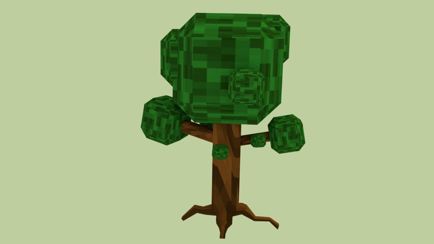 3D tree pixel spiraled model