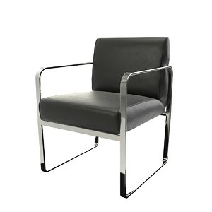 chair black leather 3D model