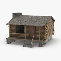 3D log-cabin model