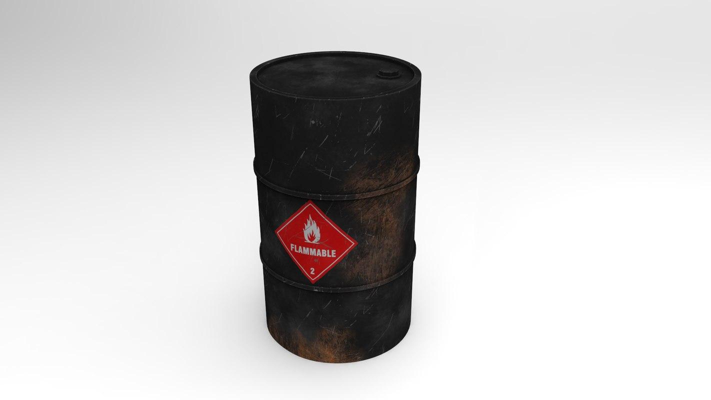 flammable barrel 3D model