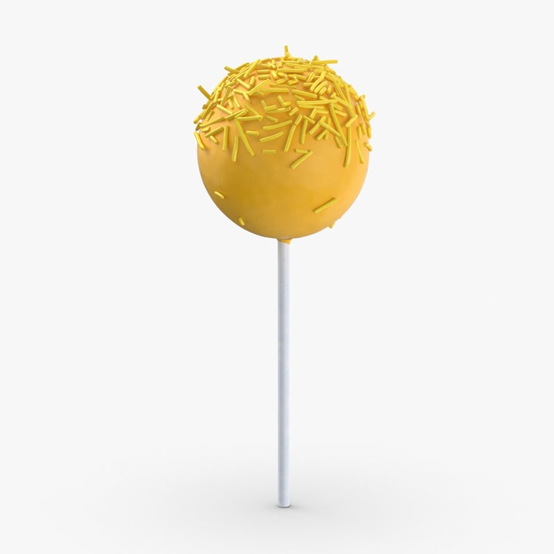 cake-pops---yellow-small-sprinkles 3D model