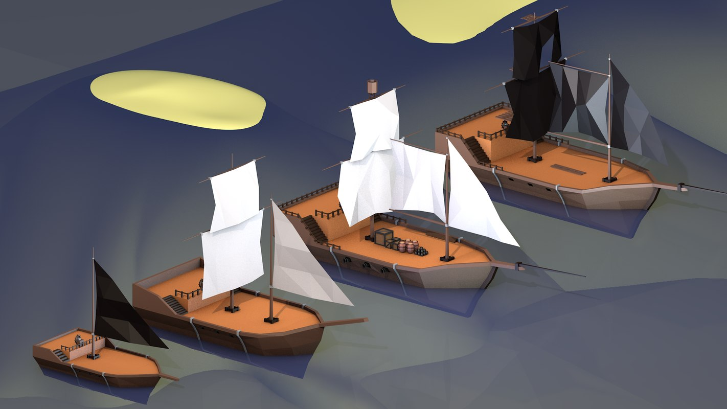 3D low-poly pirate ships