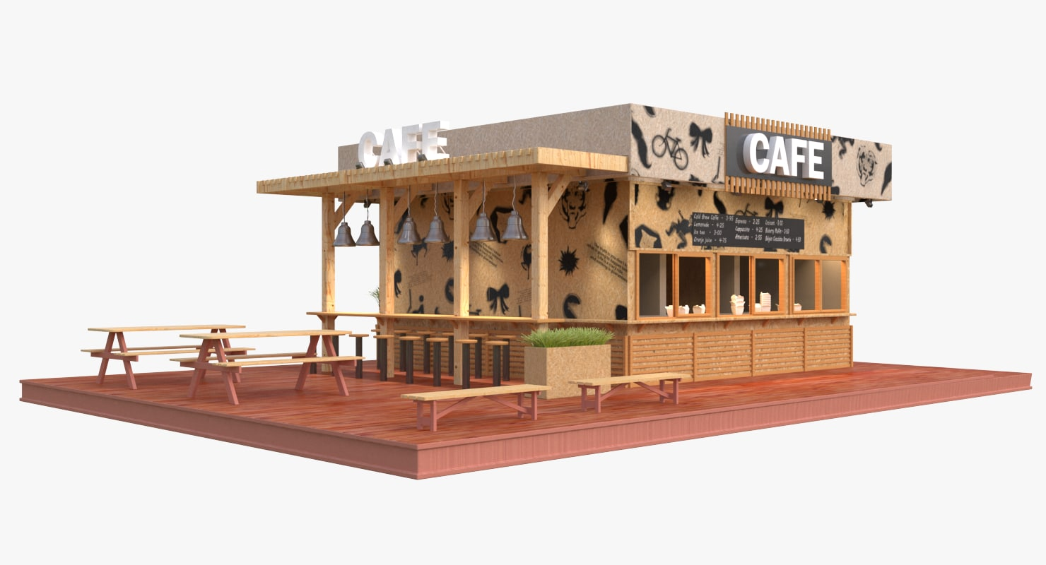 outdoor cafe 3D