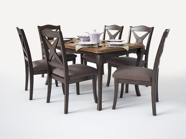 dining group malaysia table chairs 3D model