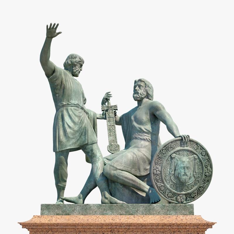 3D realistic monument minin pozharsky