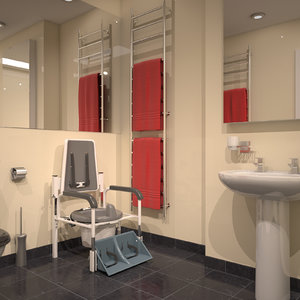 3D model hospital bathroom scene