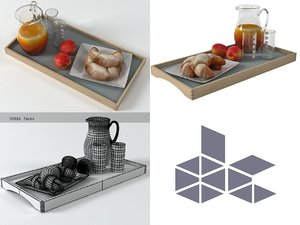 3D model breakfast set