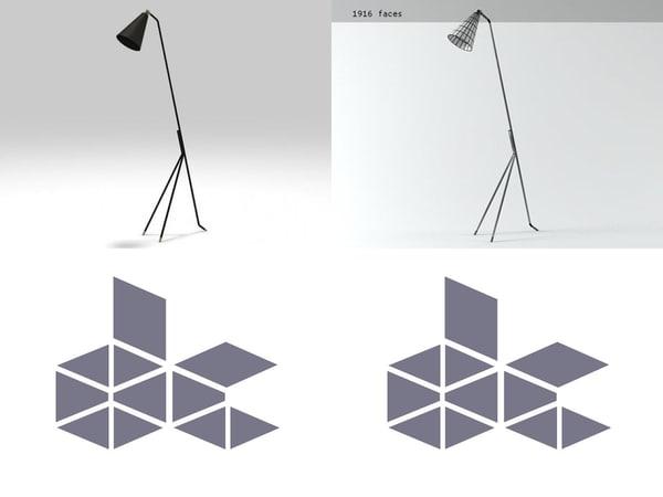 french floor lamp n 3D model