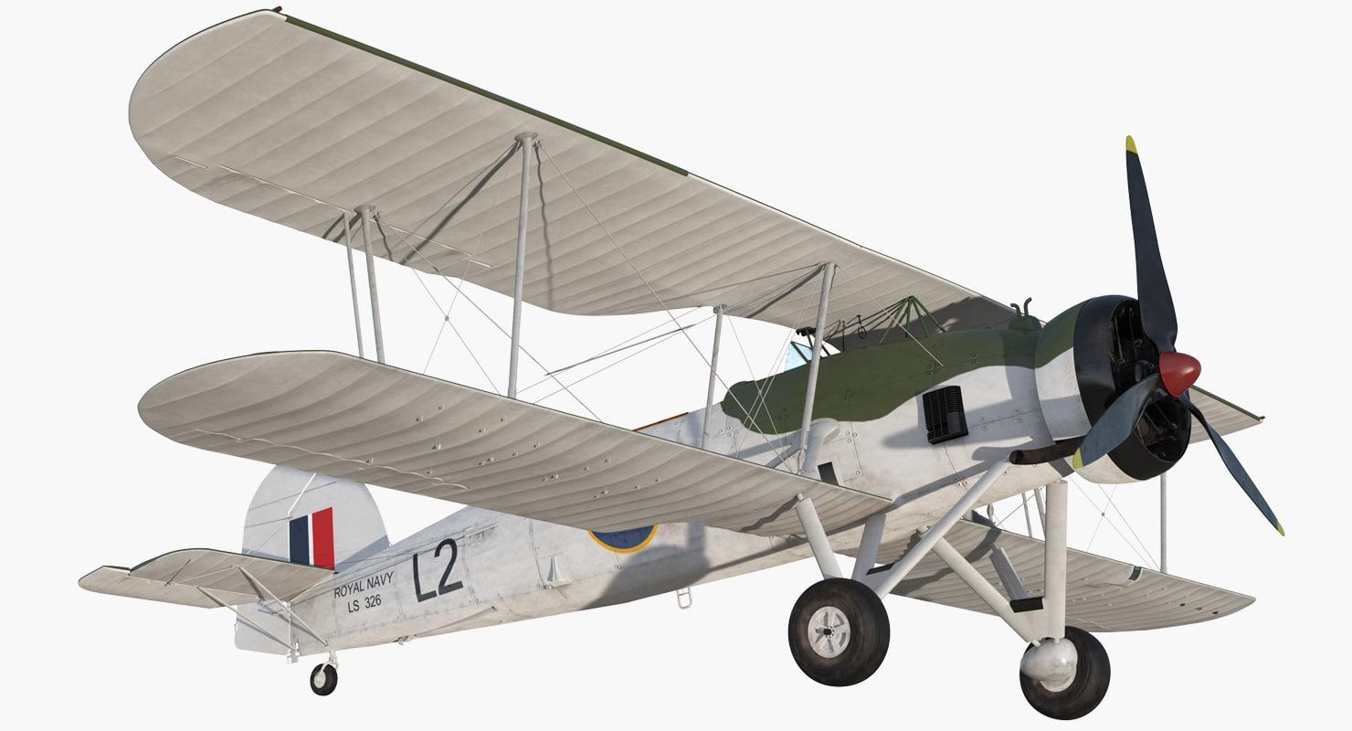 biplane torpedo bomber fairey 3D