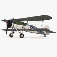 Biplane Torpedo Bomber Fairey Swordfish Rigged