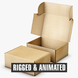3D model packaging box rigged