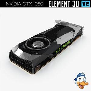 3D nvidia gtx 1080 element model