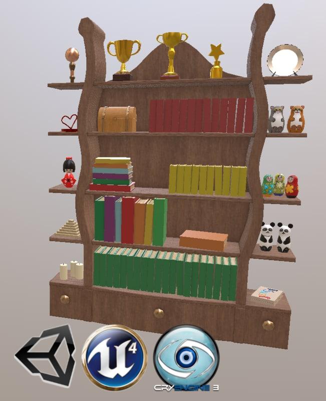 stylized bookcase 3D model