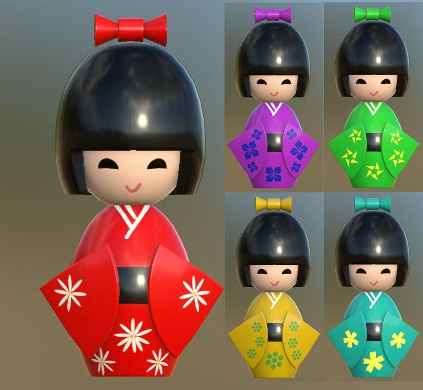 kokeshi japanese doll 3D model