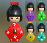 kokeshi japanese doll 3D model