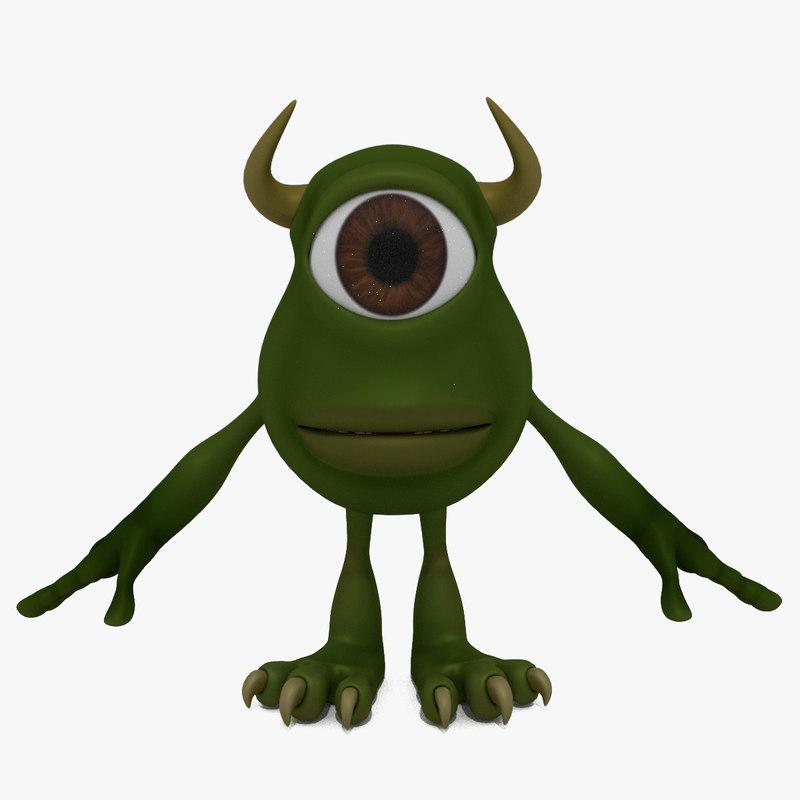 3D cartoon monster cyclops