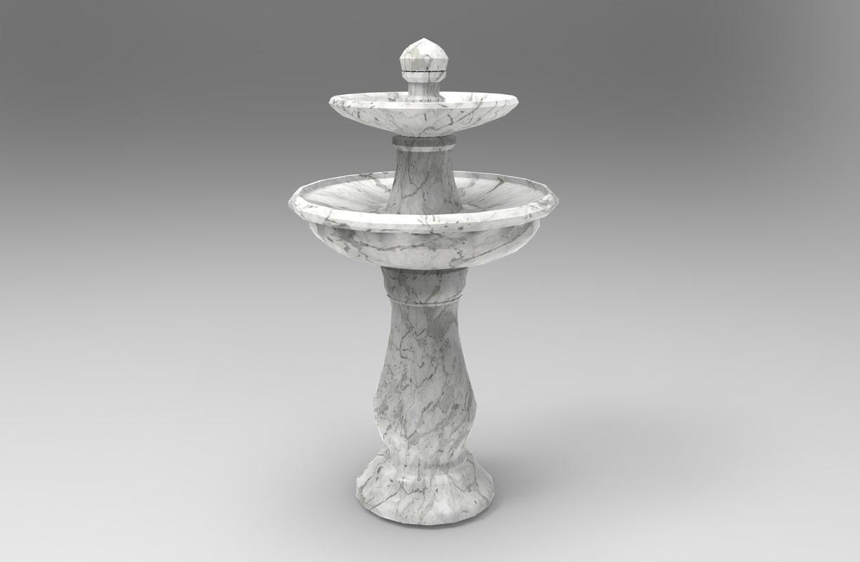 bird fountain water 3D model