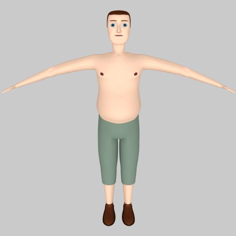 3D man fat human model