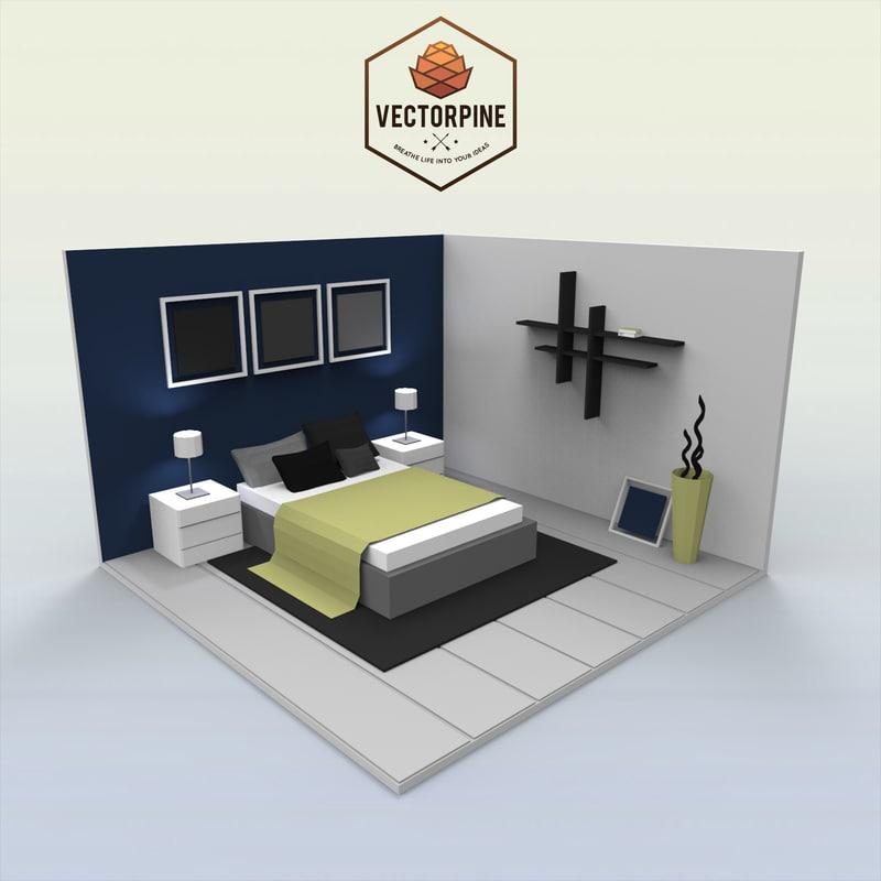 3D model interiors - bedroom