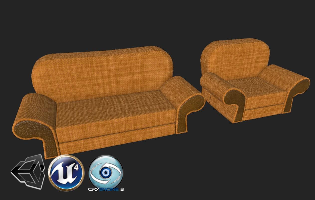3D stylized cauch chair