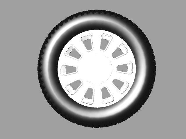 3D police car wheel model