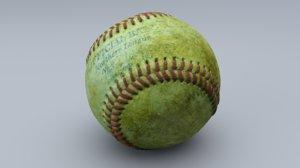 old baseball cleaned 3D