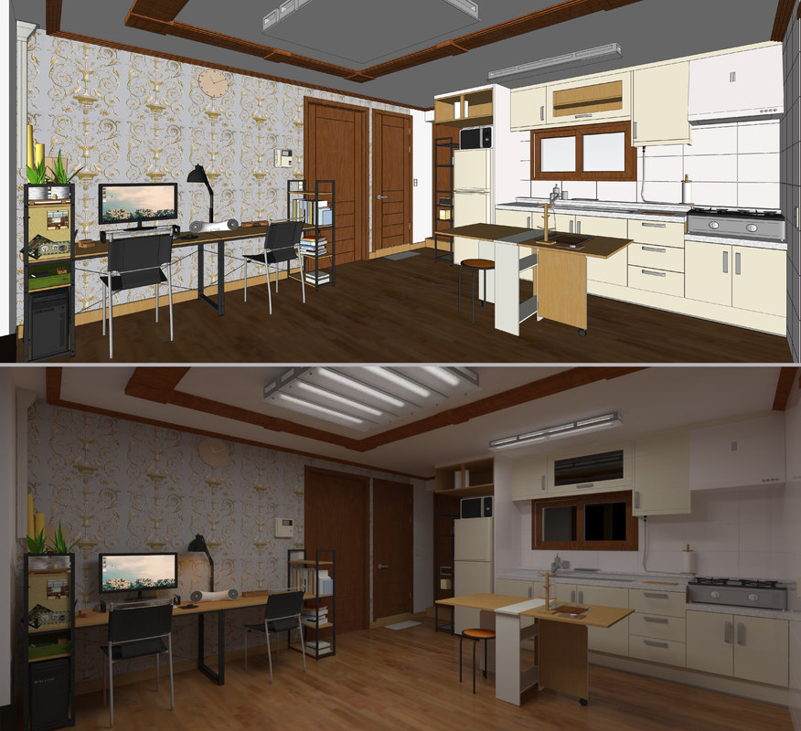 3D living dining kitchen