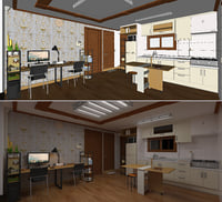 Small living+dining+kitchen room