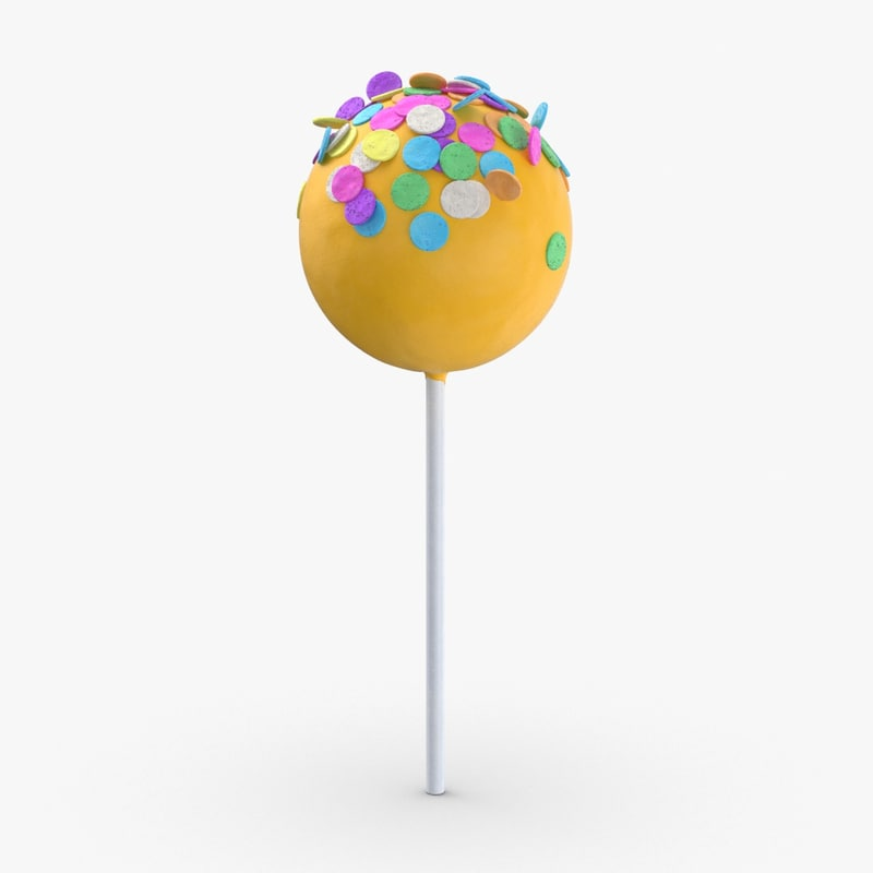 3D cake-pops---yellow-large-sprinkles model