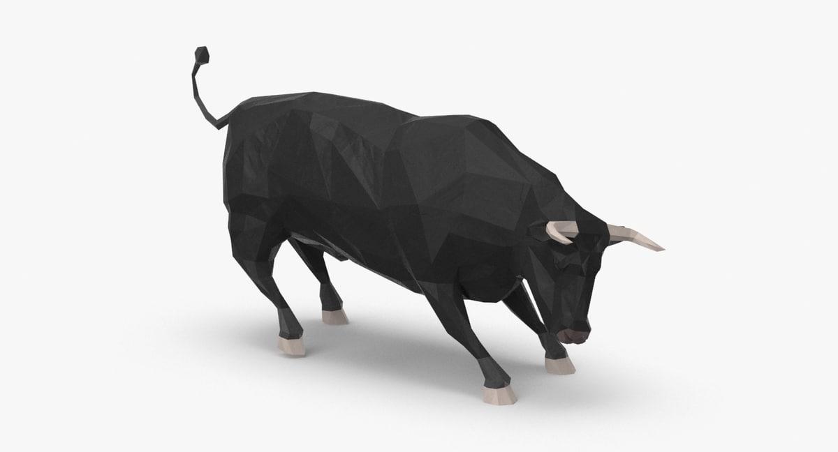 bull---black-charging 3D model