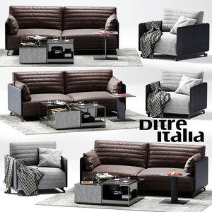 3D ditre italia bag sofa armchair model