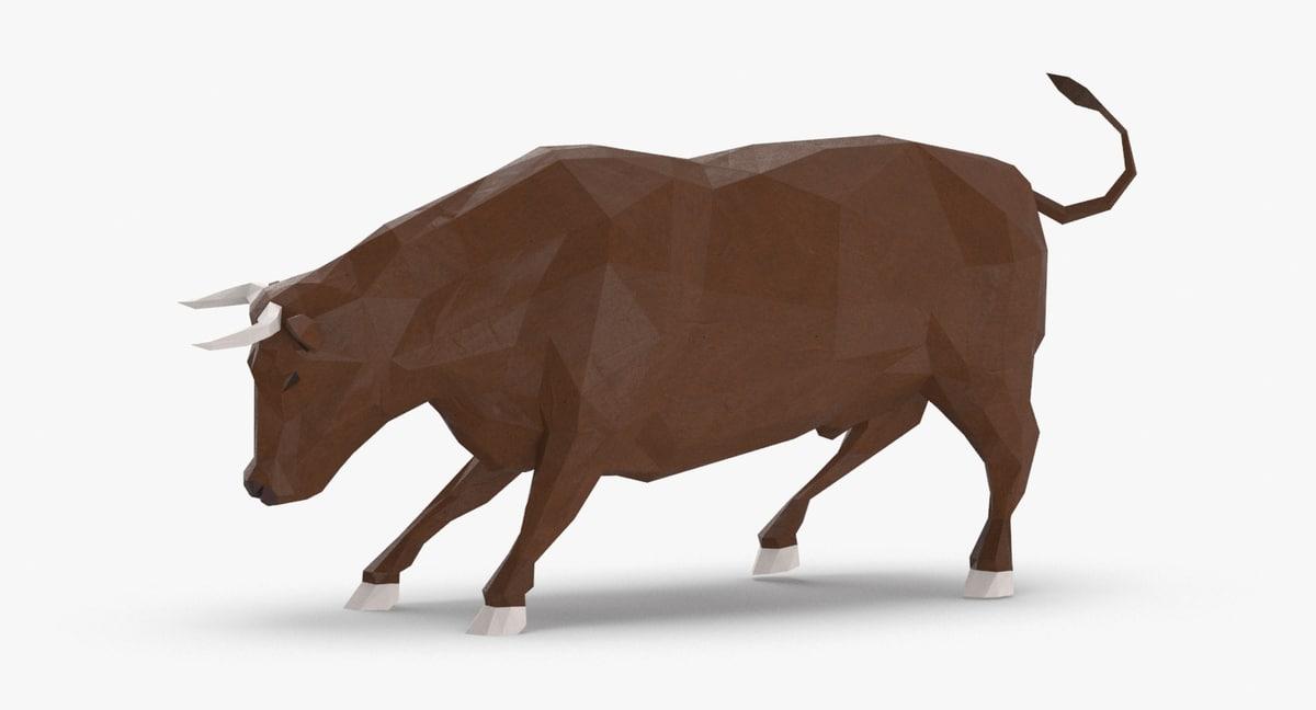 bull---brown-charging 3D