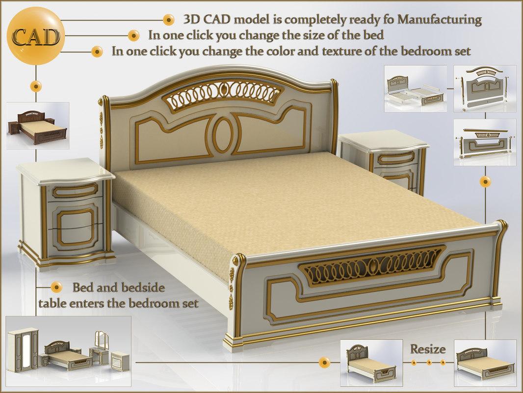 cad bed table 3D model