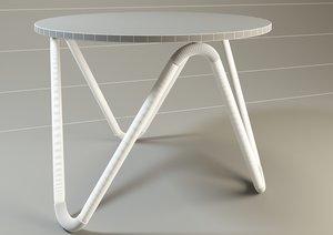 3D model table steel glass