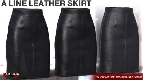 3D line leather skirt